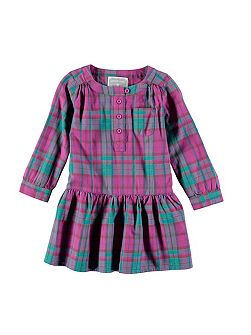 Girls Pink Check Cotton Dress