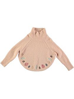 Girls Wool-Mix Embroidered Poncho Jumper