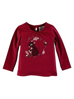 Girls Long Sleeve Embroidered Squirrel T-Shirt
