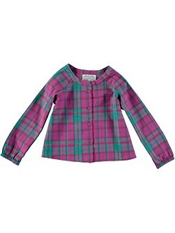 Girls Pink Check Blouse
