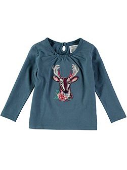 Girls Long Sleeve Deer T-Shirt