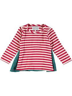 Girls Stripe Woven Back T-Shirt