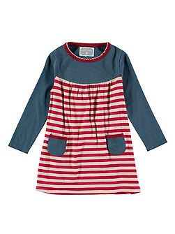 Girls Teal And Red Stripe Dress
