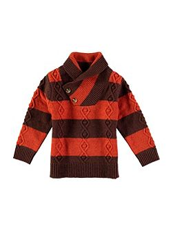 Boys High Neck Stripe Knit Jumper