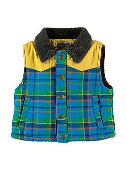 Boys Checked Padded Gilet