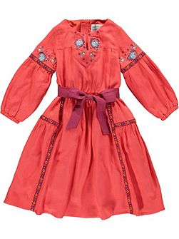 Girls Red Embroidered Bow Dress
