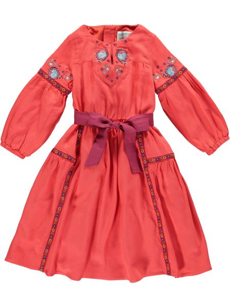 Rockin' Baby Girls Red Embroidered Bow Dress