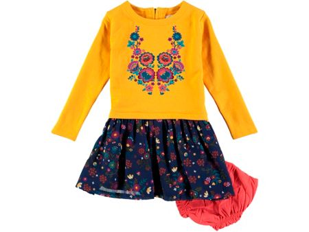 Rockin' Baby Girls Gold Embroidered Top Dress