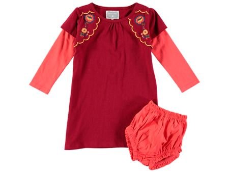 Rockin' Baby Girls Long Sleeve Embroidered Flower Dress