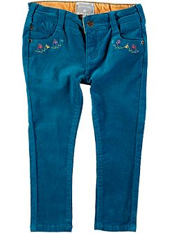 Girls Embroidered Pocket Cord Trousers