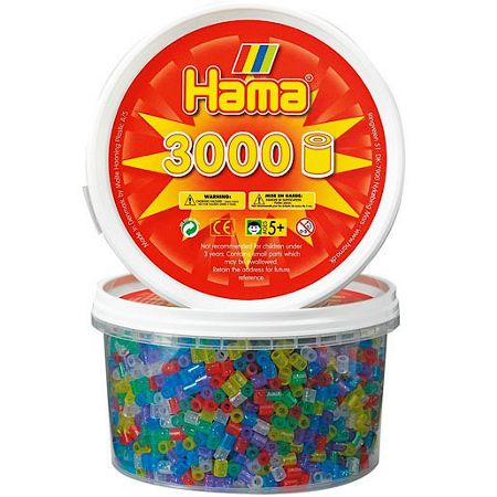 Hama 3000 glitter beads in a tub
