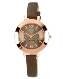 Nine West Brown strap brown dial rose gold watch