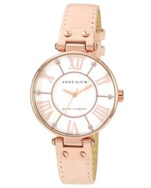 Anne Klein Signature Watch with Pink Leather Strap