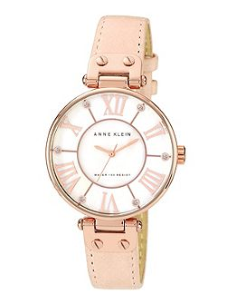 Signature Watch with Pink Leather Strap