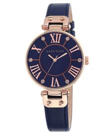 Anne Klein Signature Watch with Navy Leather Strap