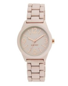 Nine West Pink silicone pink dial rose gold watch