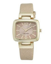 Nine West Beige strap square beige dial gold watch