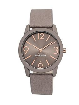 Taupe and rose gold watch