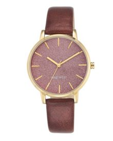 Nine West Burgundy and gold watch