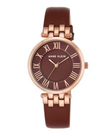 Anne Klein Burgundy and rose gold claire watch