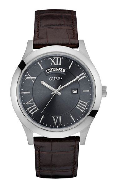 Guess W0792g5 men`s leather strap dress watch