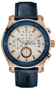 Guess W0673g6 gents leather strap dress watch