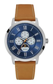 Guess W0870g4 gents` leather strap dress watch