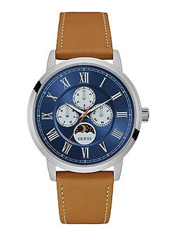 W0870g4 gents` leather strap dress watch