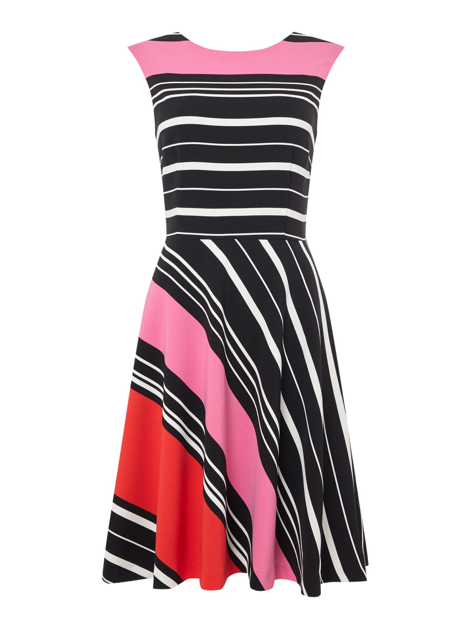 Tahari ASL Striped Sleeveless Fit and Flare Dress, Multi-Coloured