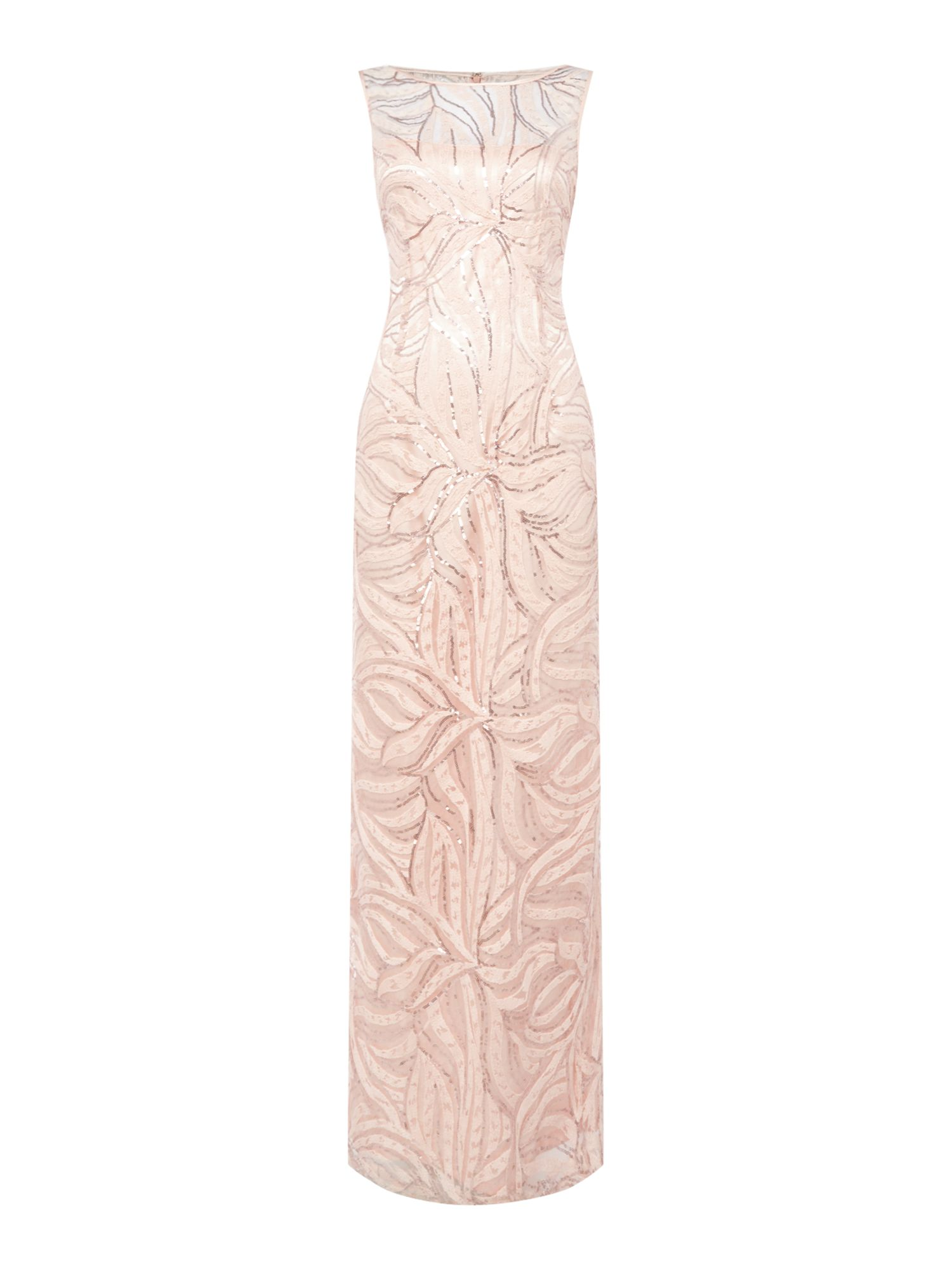 Tahari ASL Sequined Silver Gown, Pink