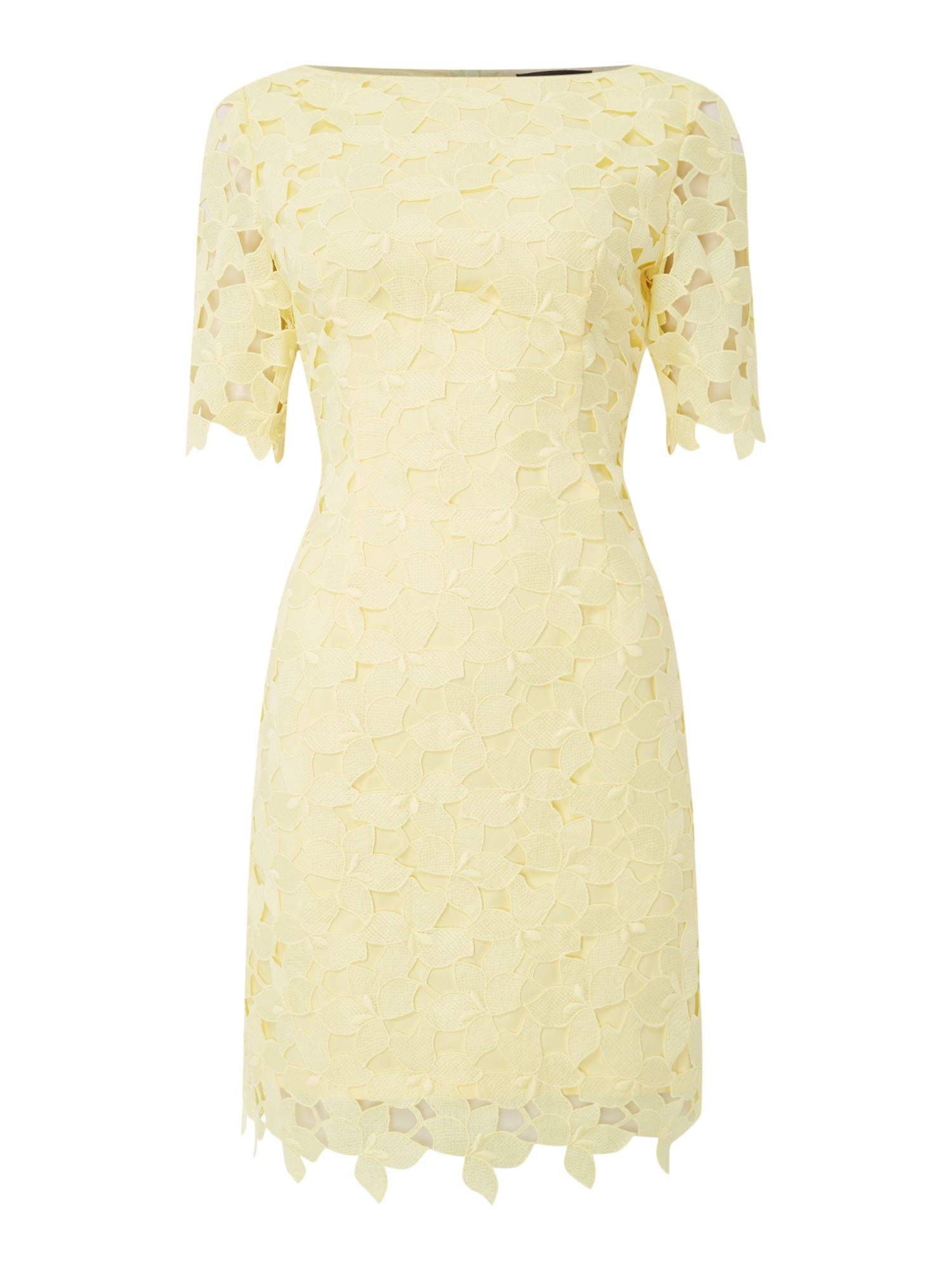 Tahari ASL Embroidered Lace Shift Dress, Yellow