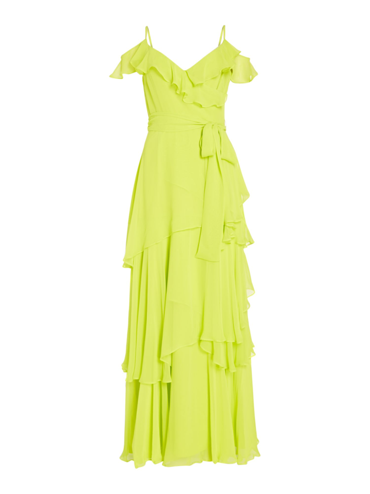 Tahari ASL Tiered Chiffon Cold Shoulder Gown, Yellow