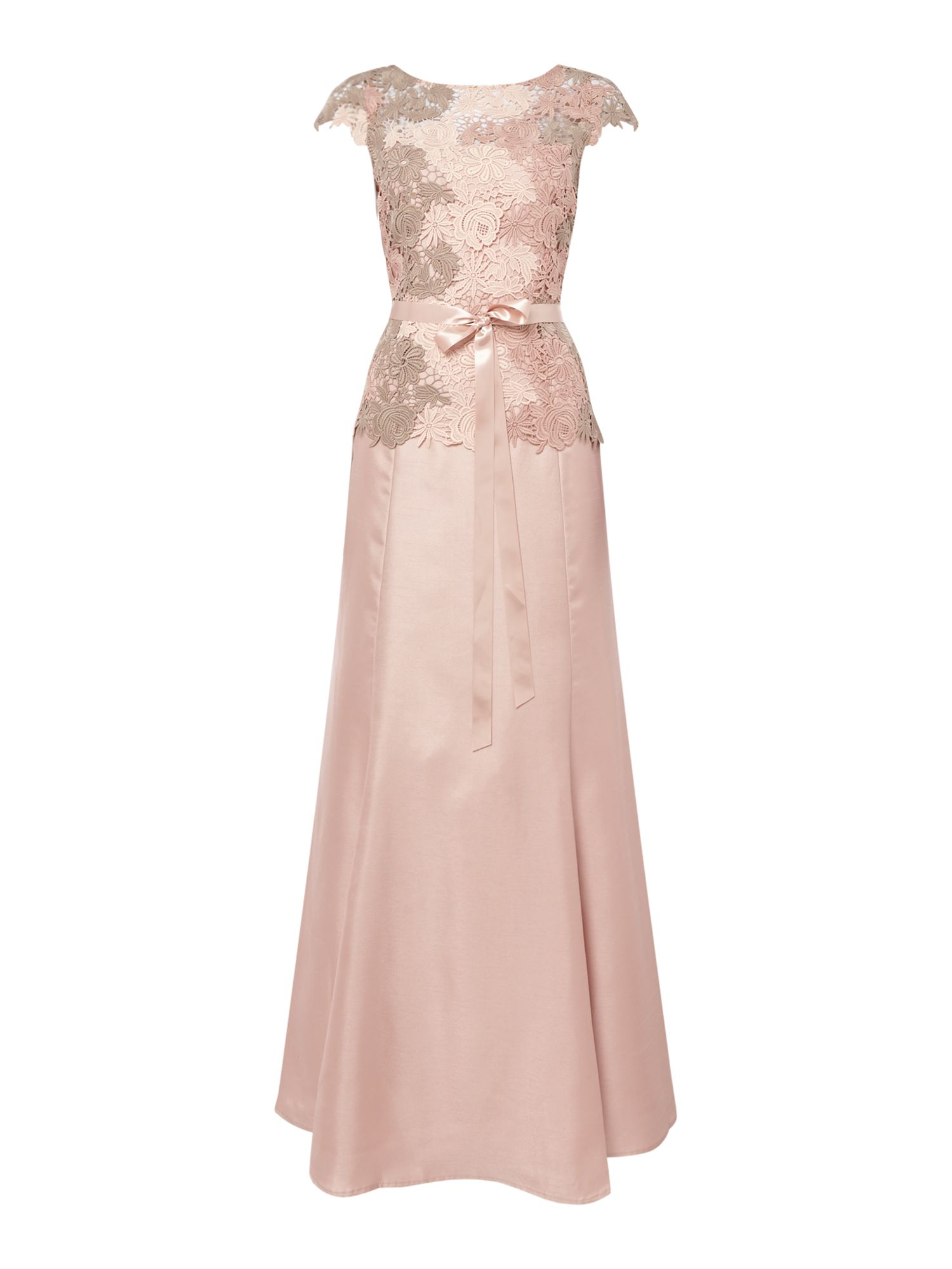 Tahari ASL Lace Embroidered Gown With Ribbon Sash, Pink