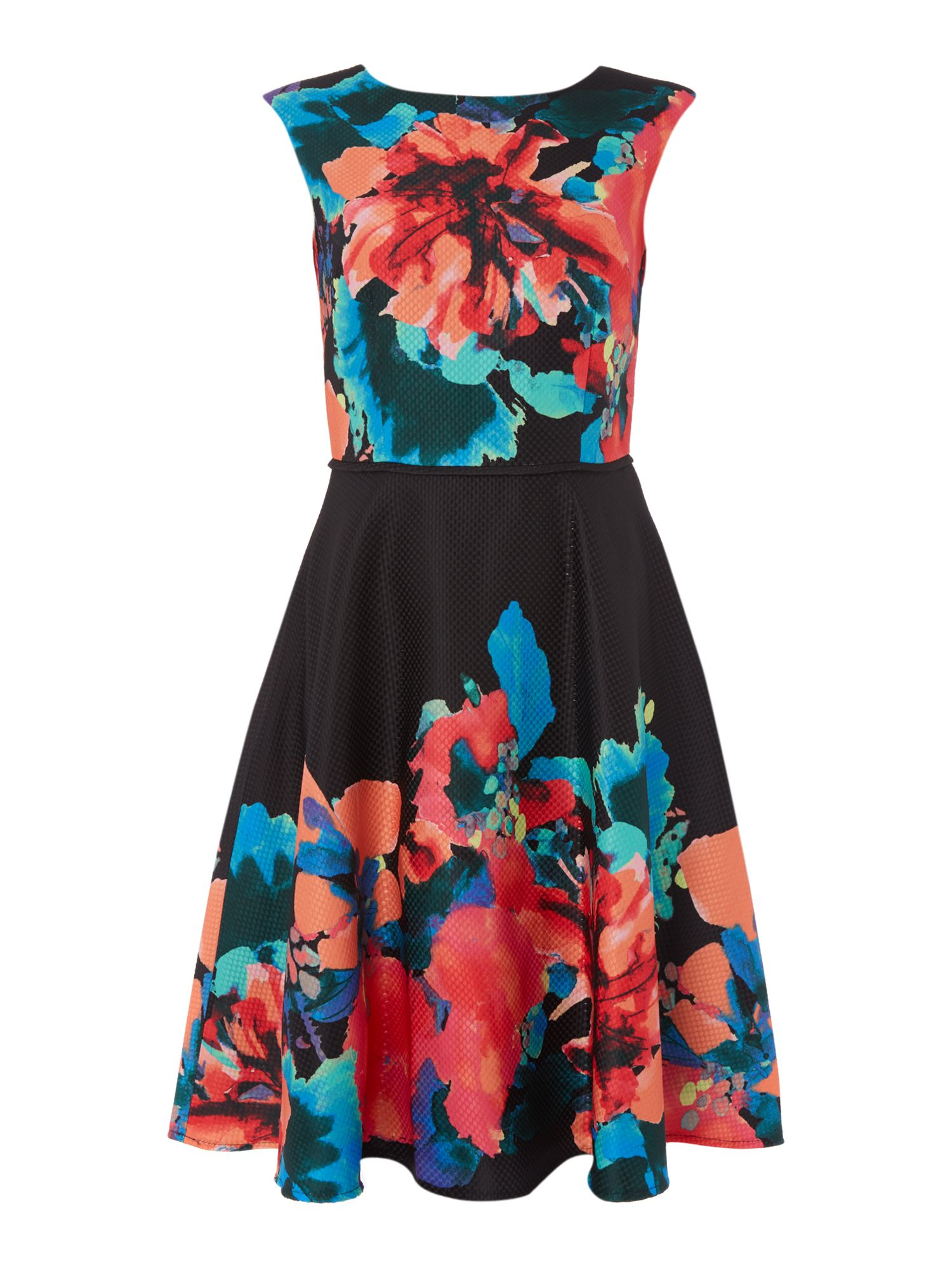 Tahari ASL Vibrant Floral Print Fit And Flare Dress, Multi-Coloured