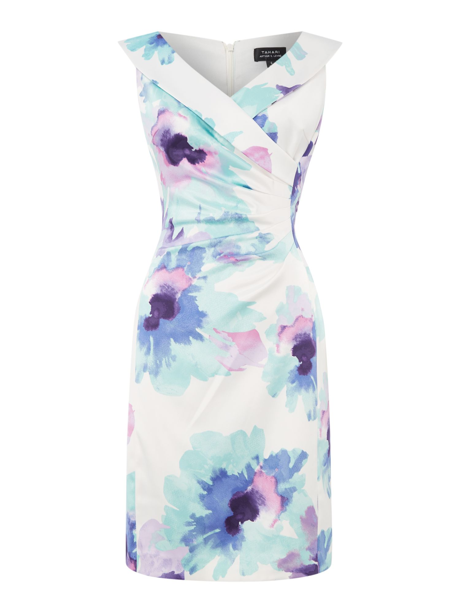 Tahari ASL Feminine Floral Print Side Ruched Dress, Multi-Coloured