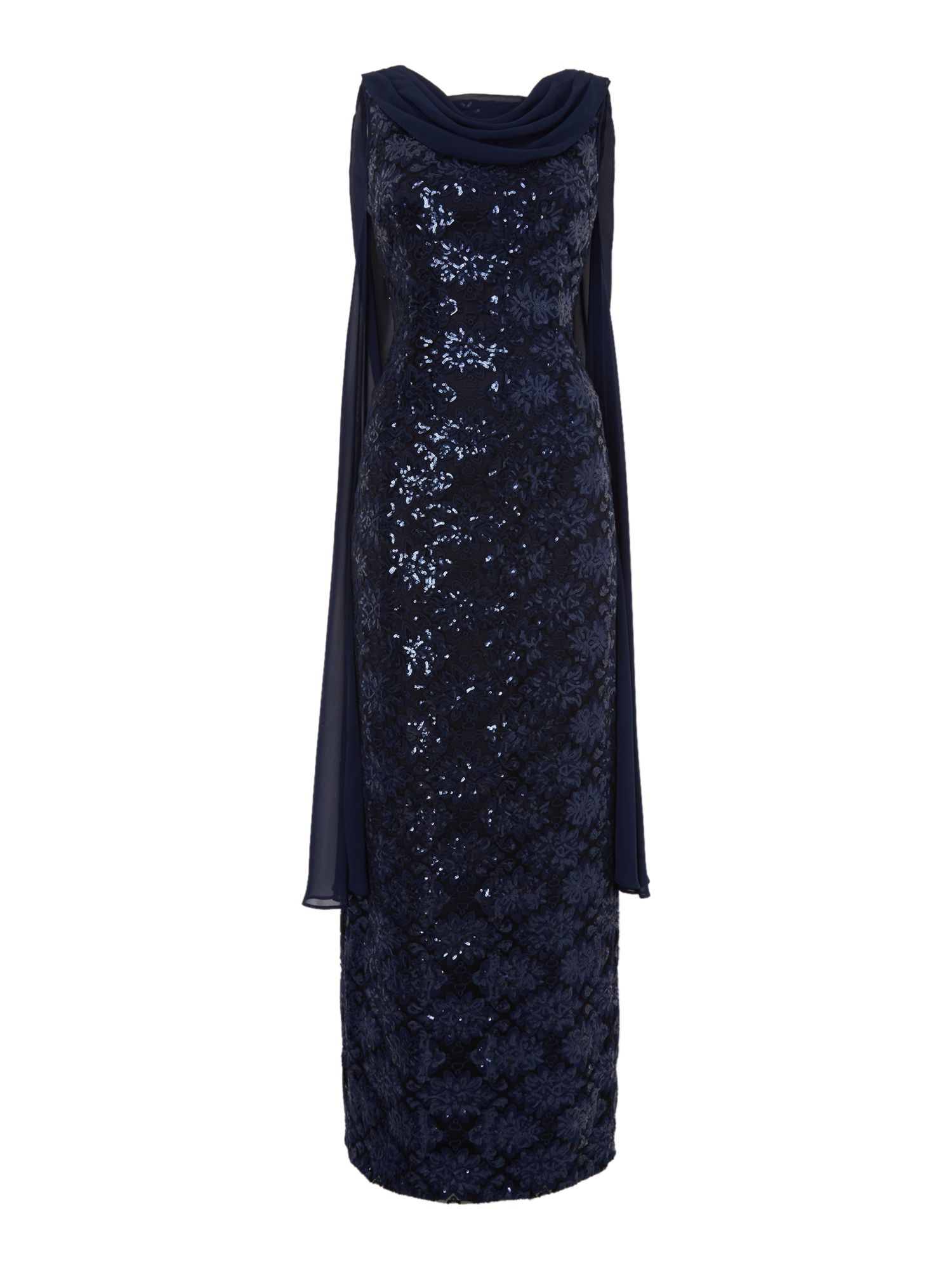 Tahari ASL Sequin Gown With Chiffon Cape, Blue