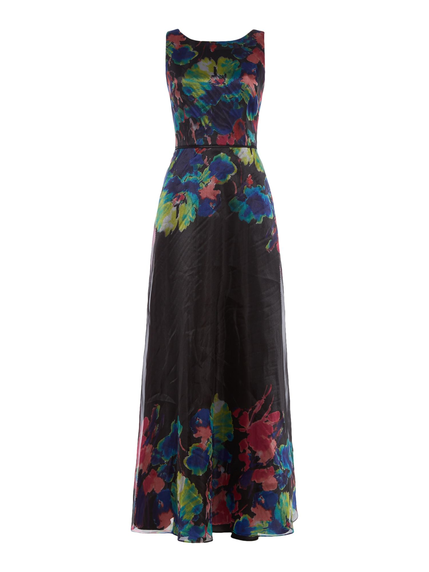 Tahari ASL Feminine Organza Floral Gown, Multi-Coloured