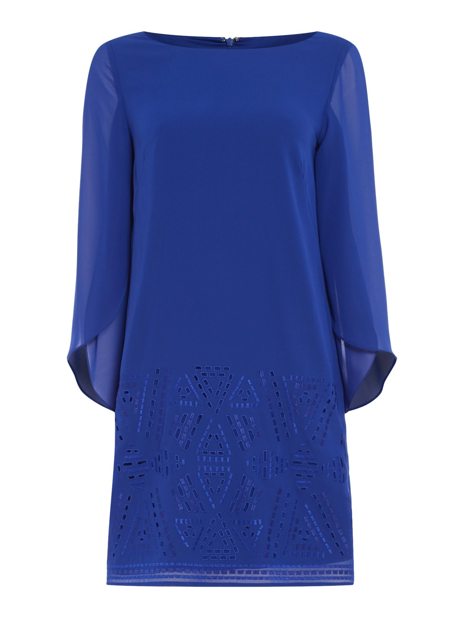 Tahari ASL Blue Chiffon Dress, Blue