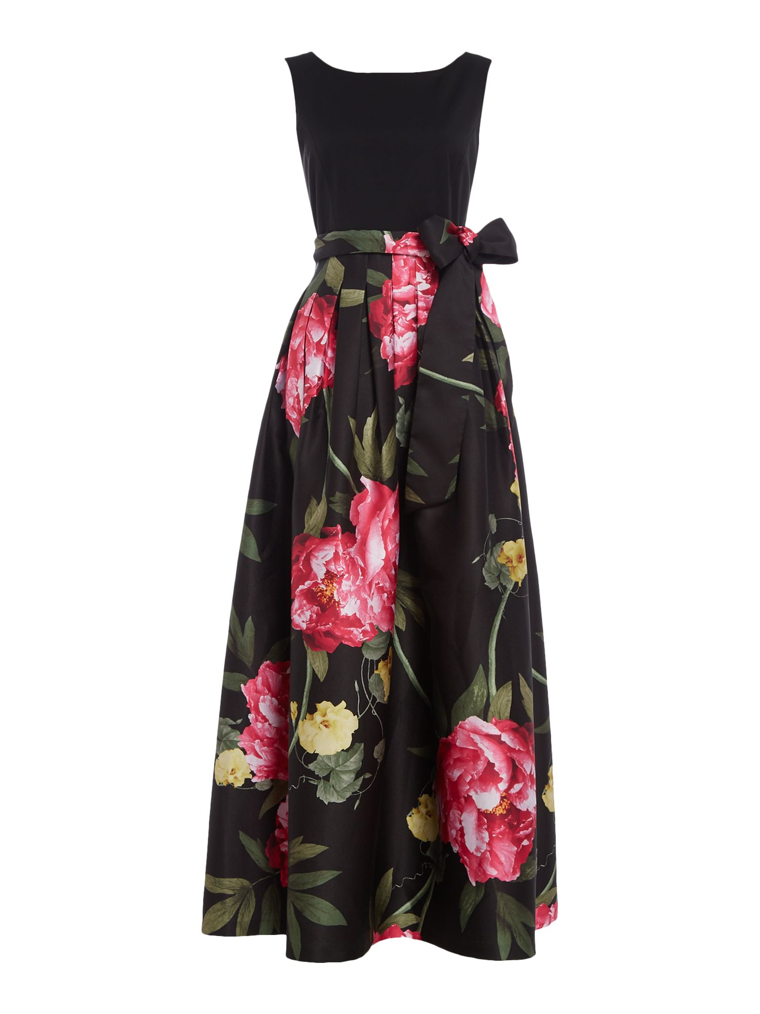 Tahari ASL Floral Ballgown With Self Tie Bow Waist, Multi-Coloured