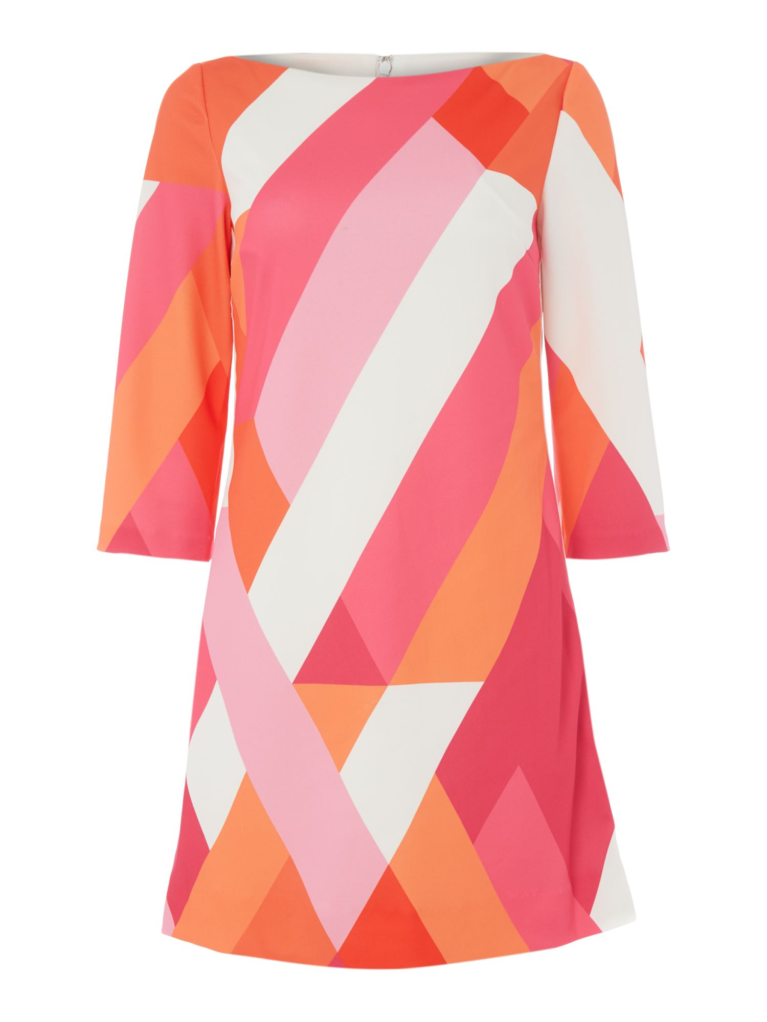 Tahari ASL Virant Geometric Print Dress, Multi-Coloured