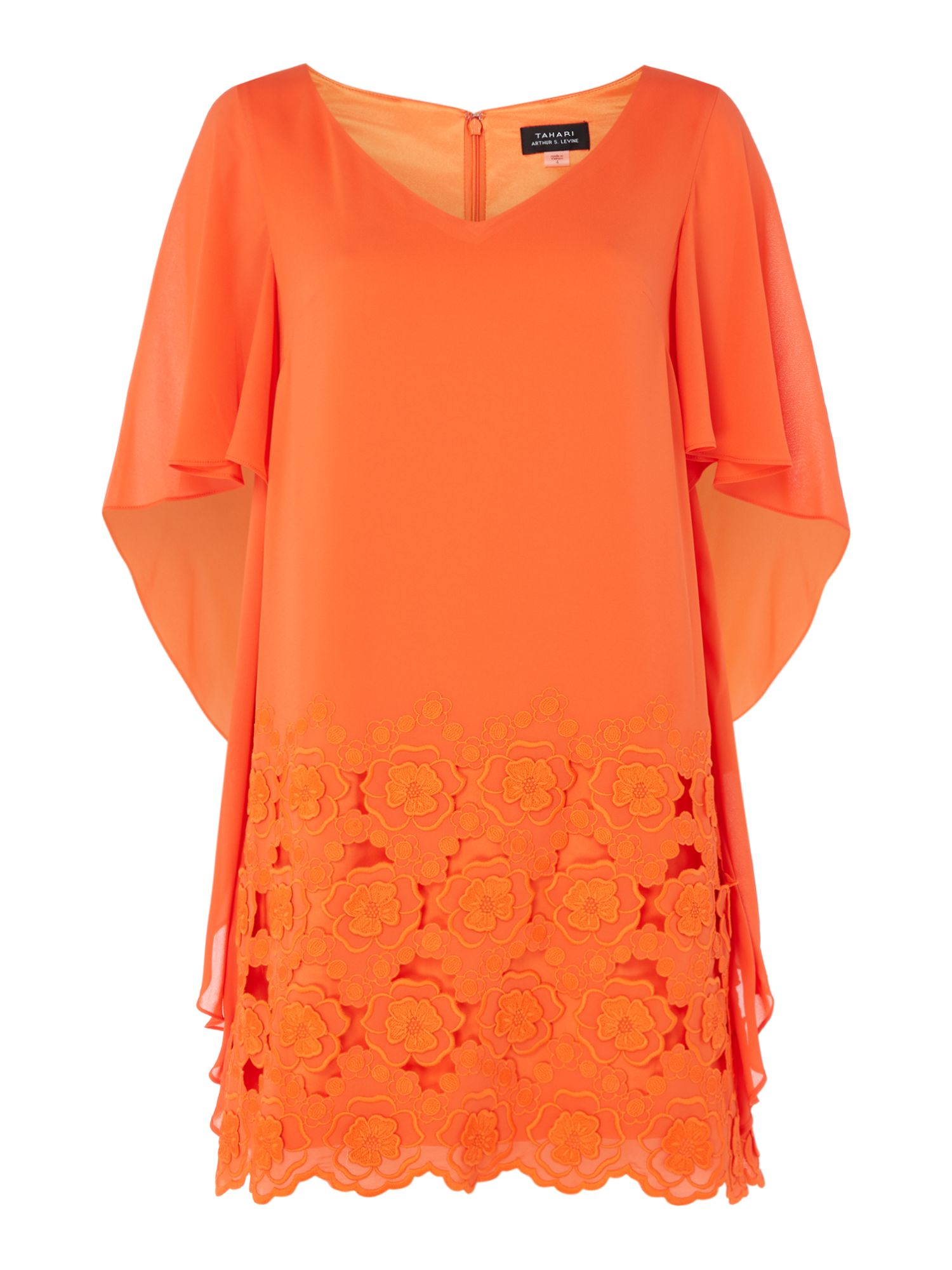 Tahari ASL Waterfall Sleeve Tangerine Shift Dress, Orange