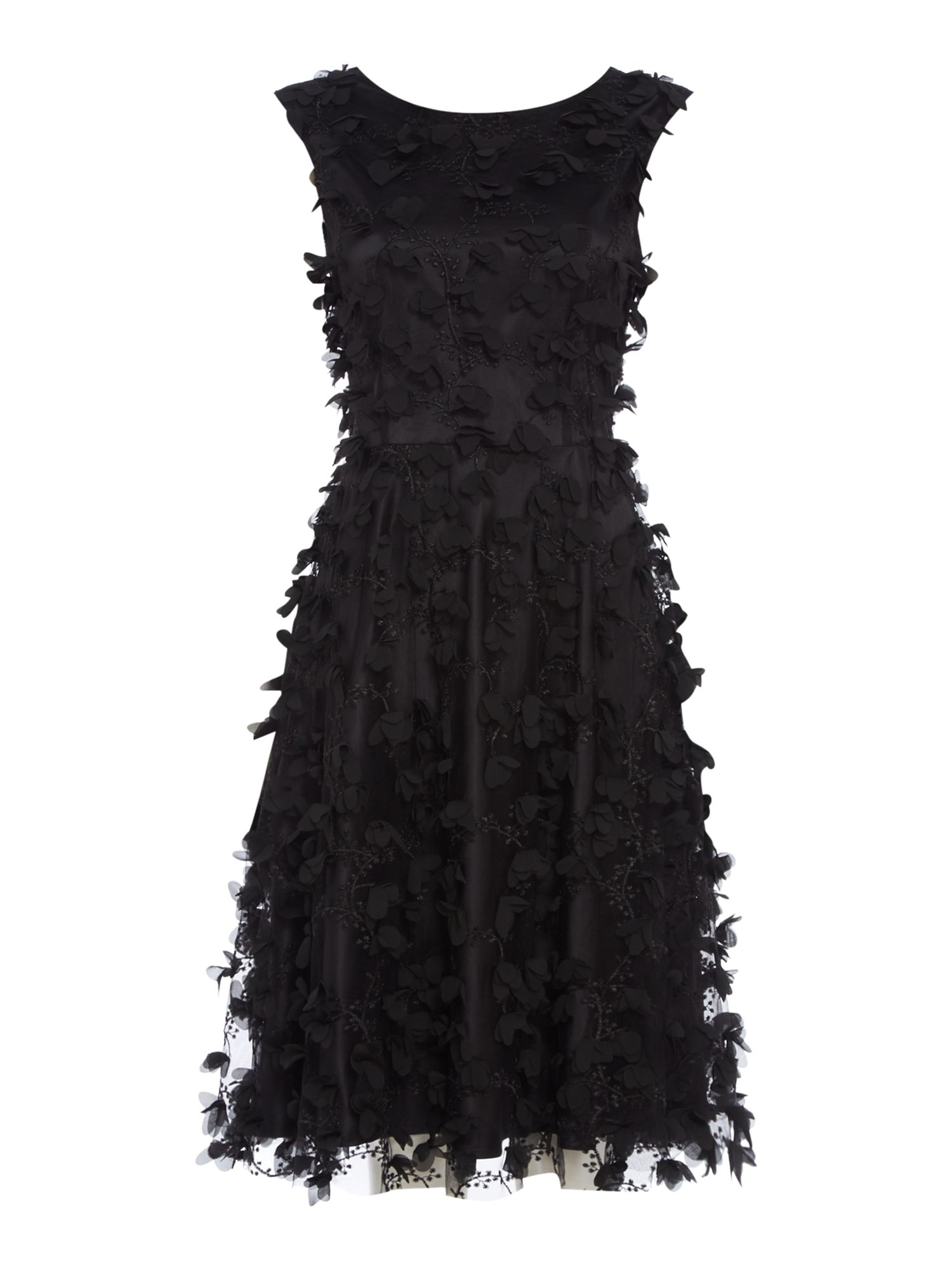Tahari ASL Occasion Dress With Floral Texturized Details, Black
