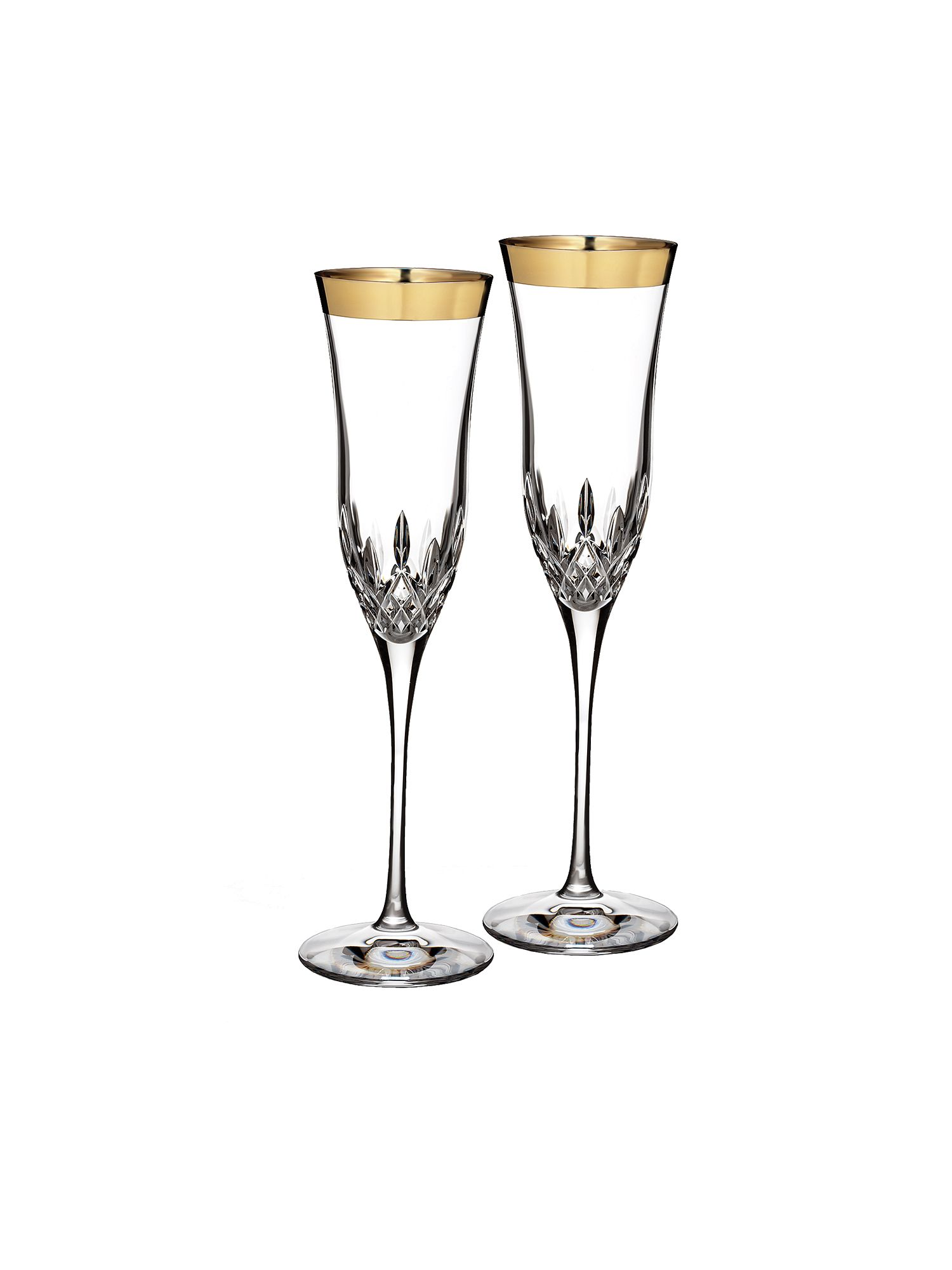 Lismore essence set of 2 crystal gold flutes