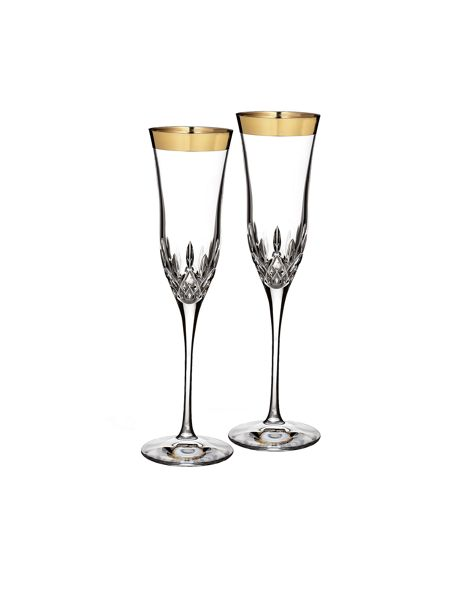 Waterford Lismore essence set of 2 crystal gold flutes