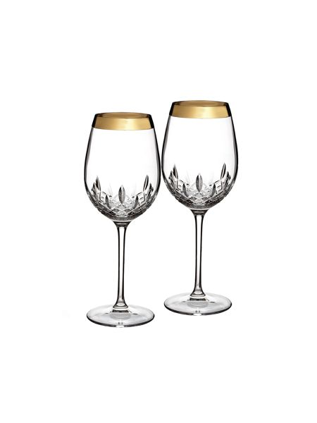 Waterford Lismore essence gold set of 2 crystal goblets