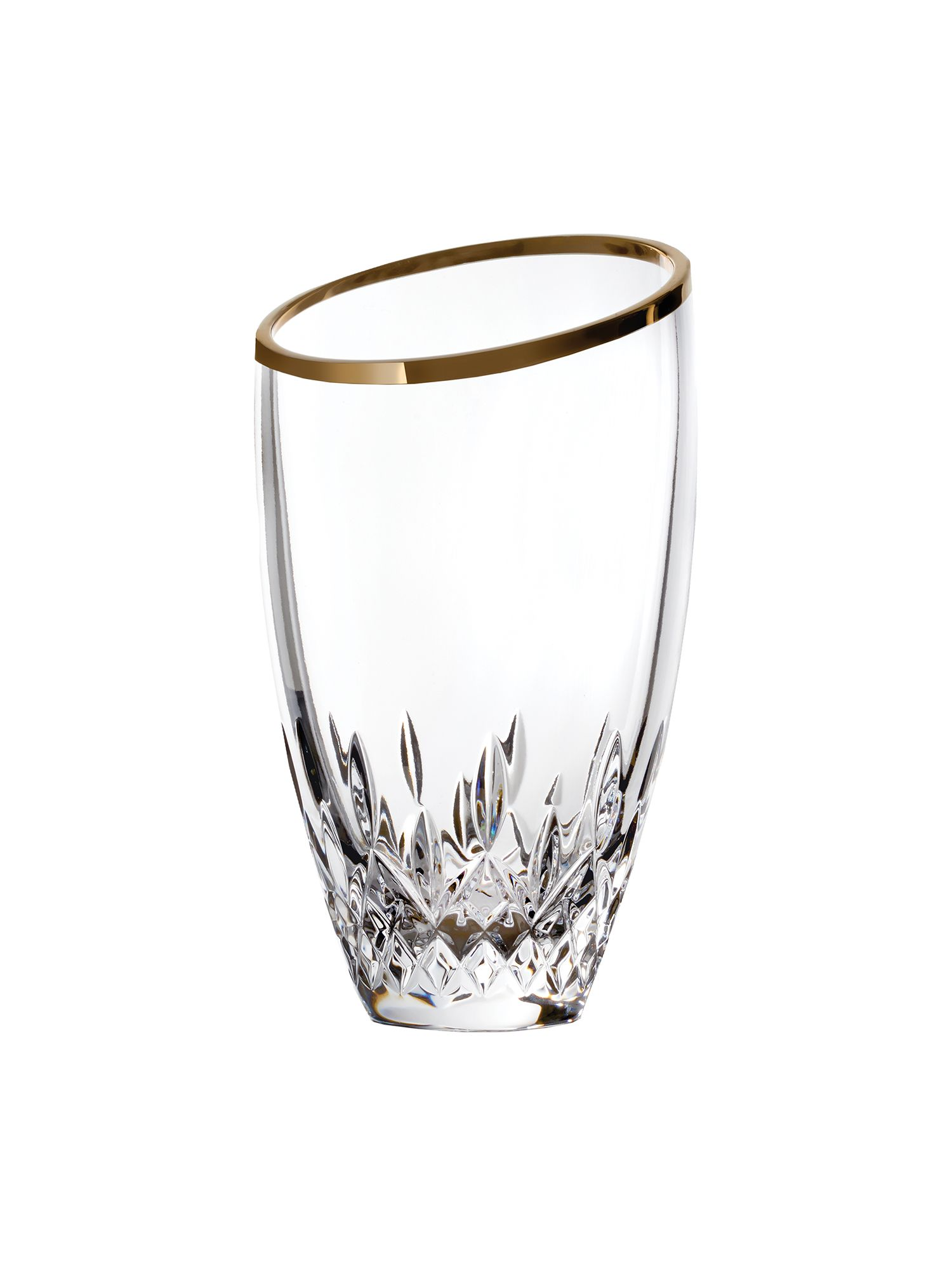 Lismore essence gold angular vase 22.5cm