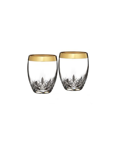 Waterford Lismore essence gold set of 2 crystal tumblers