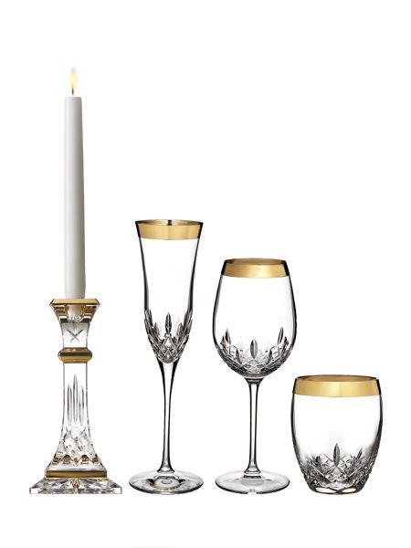 Waterford Lismore gold candlestick 20cm, set of 2
