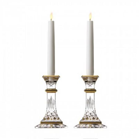 Waterford Lismore gold candlestick 15cm, set of 2