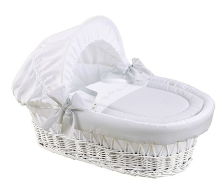 The Baby Cot Shop White and Grey Moses Basket
